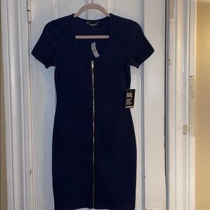 Express Zipper Mini Dress - NAVY - Size Small